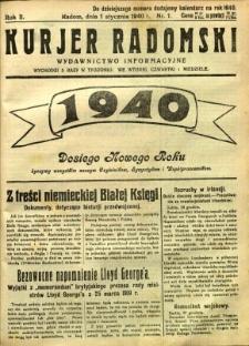 Kurier Radomski, 1940, R. 2, nr 1