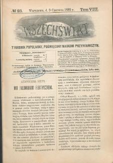 Wszechświat : Tygodnik popularny, poświęcony naukom przyrodniczym, 1889, T. 8, nr 23