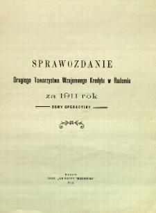Sprawozdanie Drugiego Towarzystwa Wzajemnego Kredytu w Radomiu za rok 1911
