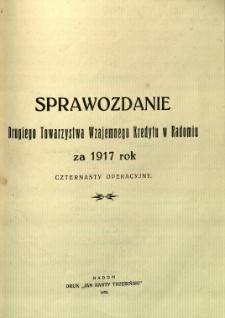 Sprawozdanie Drugiego Towarzystwa Wzajemnego Kredytu w Radomiu za rok 1917
