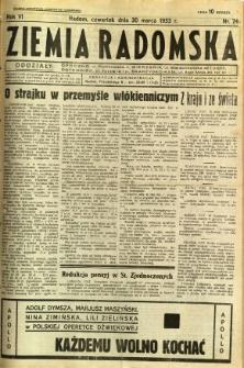 Ziemia Radomska, 1933, R. 6, nr 74