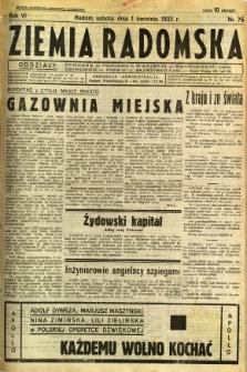 Ziemia Radomska, 1933, R. 6, nr 76