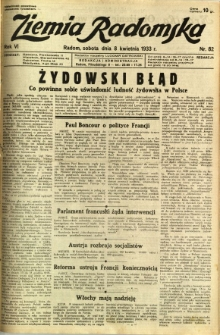 Ziemia Radomska, 1933, R. 6, nr 82
