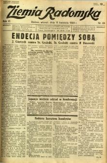 Ziemia Radomska, 1933, R. 6, nr 84