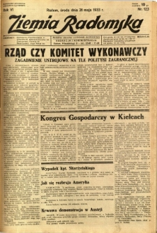Ziemia Radomska, 1933, R. 6, nr 123