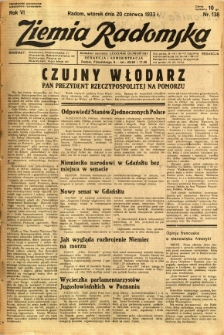 Ziemia Radomska, 1933, R. 6, nr 138