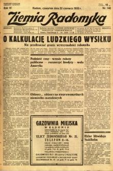 Ziemia Radomska, 1933, R. 6, nr 140