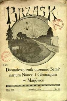 Brzask: Dwumiesięcznik uczennic Seminarium Nauczycielskiego w Mariówce, 1934, R. 7, nr 28
