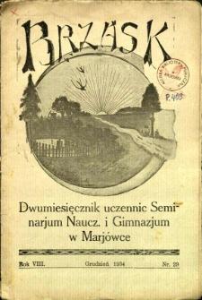 Brzask: Dwumiesięcznik uczennic Seminarium Nauczycielskiego w Mariówce, 1934, R. 8, nr 29