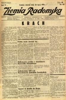 Ziemia Radomska, 1933, R. 6, nr 167