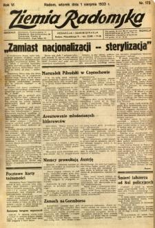 Ziemia Radomska, 1933, R. 6, nr 173