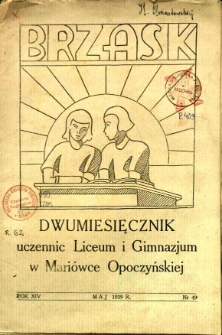 Brzask: Dwumiesięcznik uczennic Seminarium Nauczycielskiego w Mariówce, 1939, R. 14, nr 49