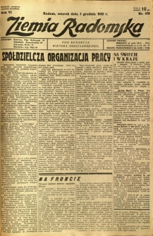 Ziemia Radomska, 1933, R. 6, nr 278