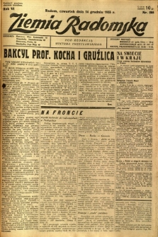 Ziemia Radomska, 1933, R. 6, nr 285