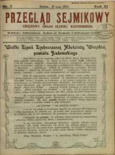 Przegląd Sejmikowy : Urzędowy Organ Sejmiku Radomskiego, 1932, R. 11, nr 5