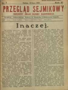 Przegląd Sejmikowy : Urzędowy Organ Sejmiku Radomskiego, 1932, R. 11, nr 7