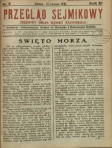 Przegląd Sejmikowy : Urzędowy Organ Sejmiku Radomskiego, 1932, R. 11, nr 8