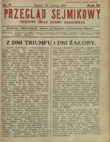 Przegląd Sejmikowy : Urzędowy Organ Sejmiku Radomskiego, 1932, R. 11, nr 9