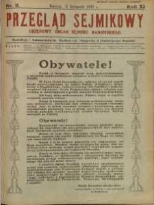 Przegląd Sejmikowy : Urzędowy Organ Sejmiku Radomskiego, 1932, R. 11, nr 11