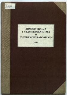 Administracja i stan szkolnictwa w Dystrykcie Radomskim