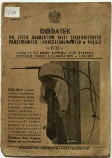 Dodatek do spisu abonentów sieci telefonicznych państwowych i koncesjonowanych w Polsce na 1935 r.