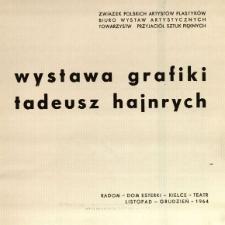 Wystawa grafiki : Tadeusz Hajnrych