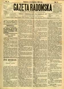 Gazeta Radomska, 1888, R. 5, nr 31