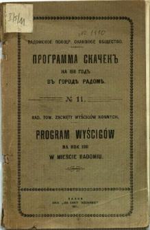 Program wyścigów na rok 1911 w mieście Radomiu