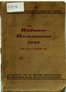 Radomer Herbstmesse vom 9. bis 13. Oktober 1940 : Katalog der Herbstmesse
