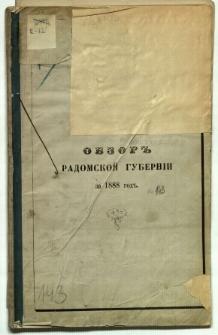 Obzor Radomskoj Guberni za 1888 god