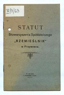 """Statut Stowarzyszenia Spółdzielczego """"Rzemieślnik"""" w Przysusze"""