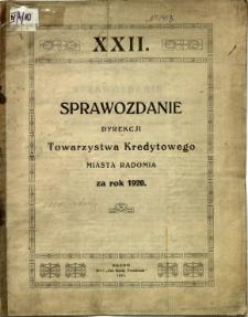 Sprawozdanie Dyrekcji Towarzystwa Kredytowego miasta Radomia za rok 1920