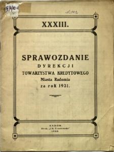 Sprawozdanie Dyrekcji Towarzystwa Kredytowego miasta Radomia za rok 1931