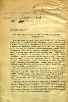 Odnaleziony fragment akt Radomskiej Inspekcji Fabrycznej