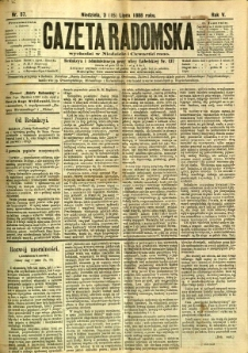 Gazeta Radomska, 1888, R. 5, nr 57