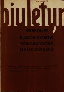 Biuletyn Kwartalny Radomskiego Towarzystwa Naukowego, 1967, T. 4, z. 1