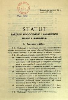 Statut Zarządu Wodociągów i Kanalizacji miasta Radomia