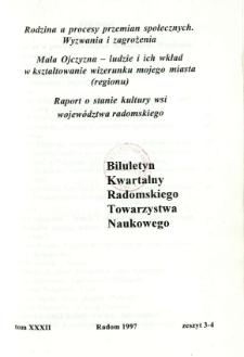 Biuletyn Kwartalny Radomskiego Towarzystwa Naukowego, 1997, T. 32, z. 3-4