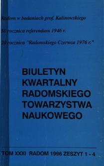 Biuletyn Kwartalny Radomskiego Towarzystwa Naukowego, 1996, T. 31, z. 1-4