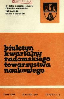 Biuletyn Kwartalny Radomskiego Towarzystwa Naukowego 1987, T. 24, z. 1-4