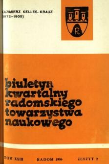 Biuletyn Kwartalny Radomskiego Towarzystwa Naukowego, 1986, T. 23, z. 2