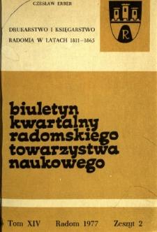 Biuletyn Kwartalny Radomskiego Towarzystwa Naukowego, 1977, T. 14, z. 2