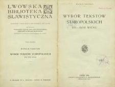 Wybór tekstów staropolskich XVI-XVIII wieku