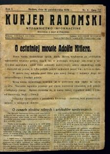 Kurier Radomski, 1939, R. 1, nr 1