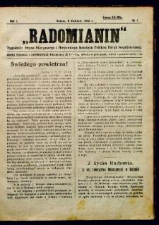 Radomianin, 1922, R. 1, nr 1