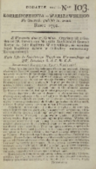 Korrespondent Warszawski, 1792, nr 103, dod