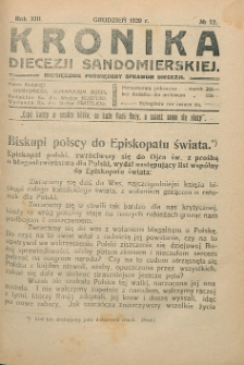 Kronika Diecezji Sandomierskiej, 1920, R. 13, nr 12