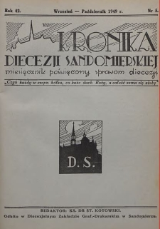 Kronika Diecezji Sandomierskiej, 1949, R. 42, nr 5