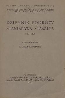 Dziennik podróży Stanisława Staszica 1789-1805