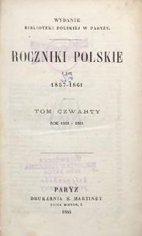 Roczniki Polskie z lat 1857-1861 T. 4